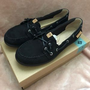 Sperry Coil Ivory Leather/Canvas Black